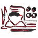 Набор (наручники, оковы, ошейник с поводком, кляп, маска, плеть, лиф)